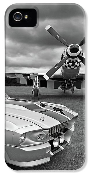 Airplane iPhone 5s Case - Eleanor Mustang With P51 Black And White by Gill Billington
