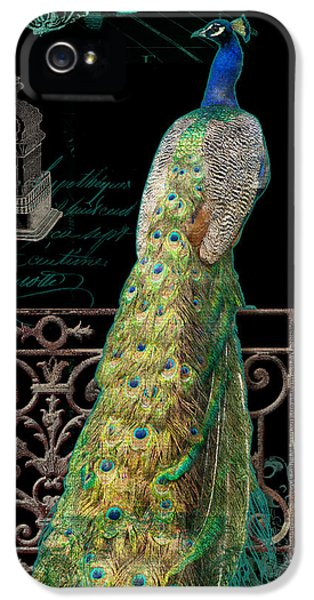 Elegant Peacock Iron Fence W Vintage Scrolls 4 IPhone 5s Case by Audrey Jeanne Roberts