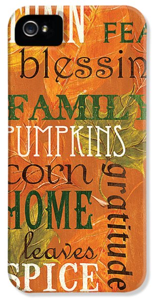 Fall Typography 1 IPhone 5s Case by Debbie DeWitt