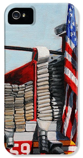 Harlem iPhone 5s Case - Fdny Engine 59 American Flag by Paul Walsh