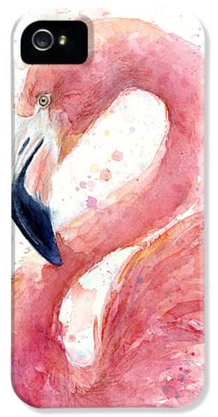 Birds iPhone 5s Case - Flamingo Watercolor Painting by Olga Shvartsur