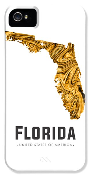 Florida State iPhone 5s Case - Florida Map Art Abstract In Yellow Gold by Studio Grafiikka