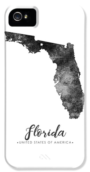Florida State iPhone 5s Case - Florida State Map Art - Grunge Silhouette by Studio Grafiikka