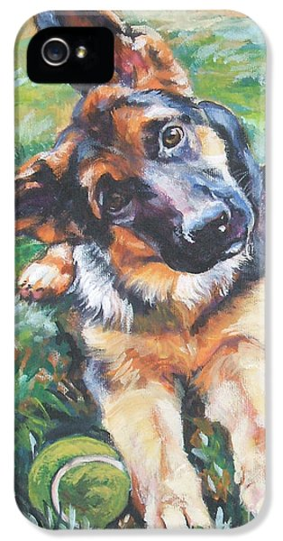 Dog iPhone 5s Case - German Shepherd Pup With Ball by Lee Ann Shepard