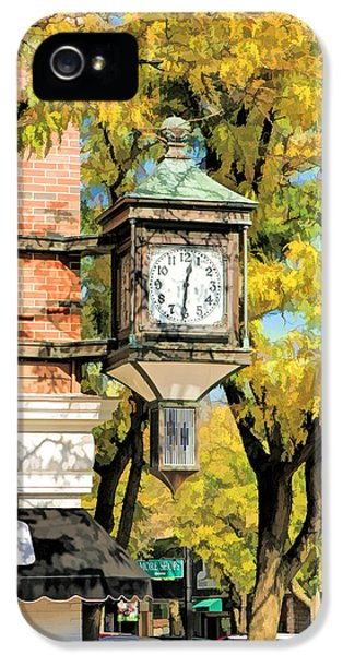 IPhone 5s Case featuring the painting Glen Ellyn Corner Clock by Christopher Arndt