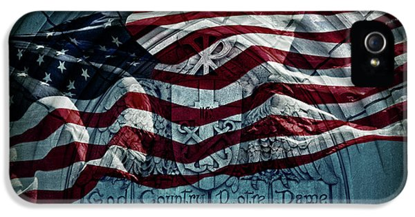 God Country Notre Dame American Flag IPhone 5s Case by John Stephens