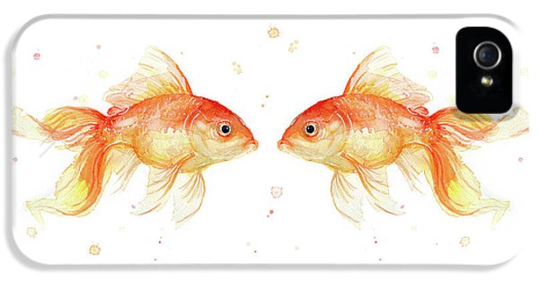 Goldfish iPhone 5s Case - Goldfish Love Watercolor by Olga Shvartsur