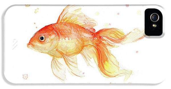 Goldfish iPhone 5s Case - Goldfish Painting Watercolor by Olga Shvartsur