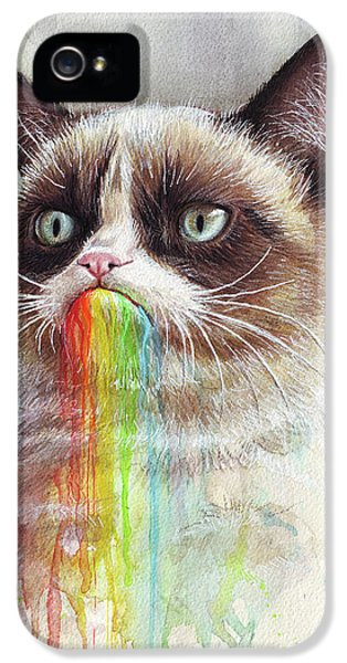 Cat iPhone 5s Case - Grumpy Cat Tastes The Rainbow by Olga Shvartsur