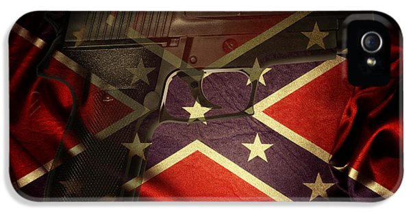 Armed iPhone 5s Case - Gun And Confederate Flag by Les Cunliffe