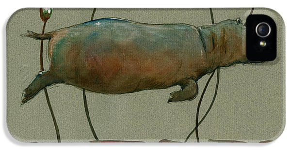 Happy Hippo Swimming IPhone 5s Case by Juan  Bosco