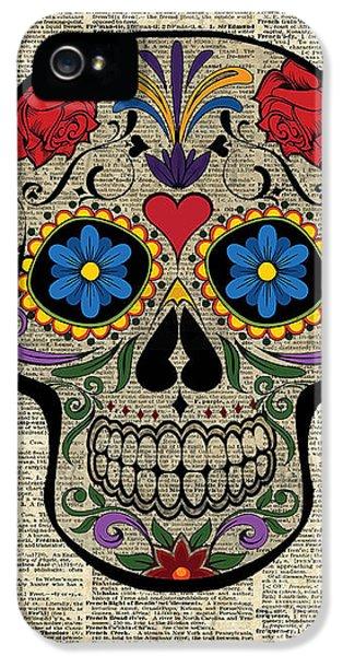 Happy Skull,sugar Skull,dia De Los Muertos,halloween Artwork IPhone 5s Case