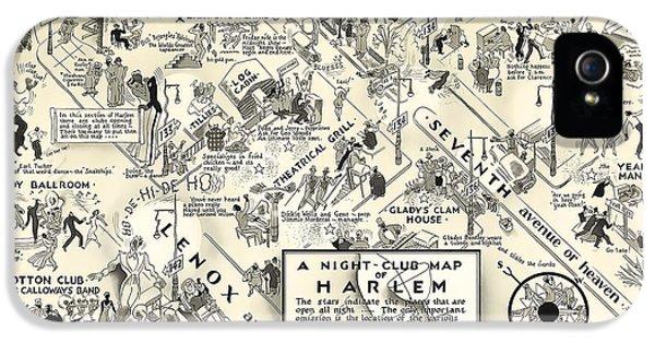 Harlem iPhone 5s Case - Harlem Prohibition Nightclub Map 1926 by Daniel Hagerman