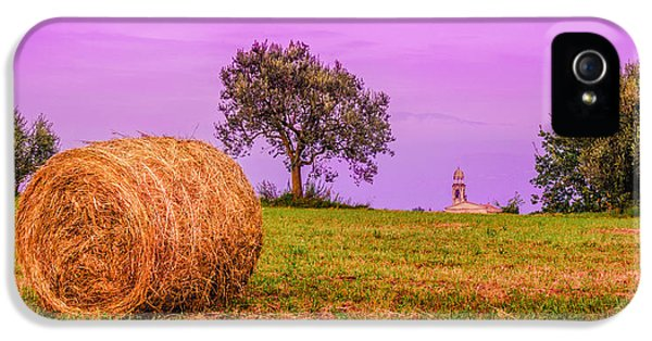 Hay Bale And Campanile. Evening In Lombardy IPhone 5s Case