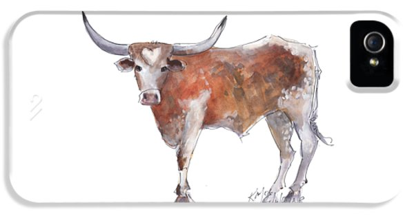 Cow iPhone 5s Case - Heart Of Texas Longhorn by Kathleen McElwaine