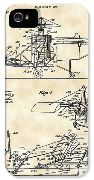 Helicopter iPhone 5s Case - Helicopter Patent 1940 - Vintage by Stephen Younts
