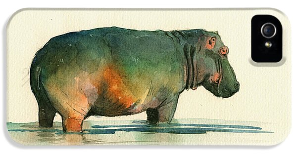Hippo Watercolor Painting IPhone 5s Case