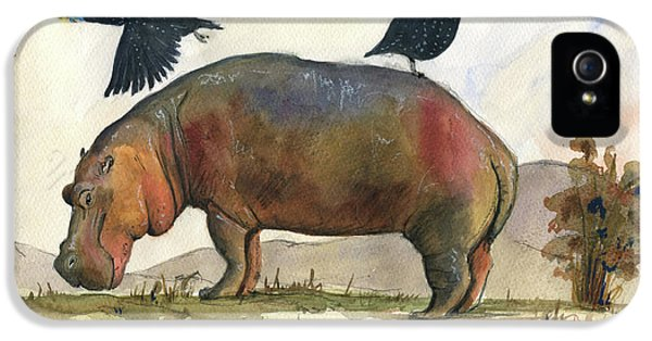 Hippopotamus iPhone 5s Case - Hippo With Guineafowls by Juan Bosco