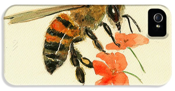 Honey Bee Watercolor Painting IPhone 5s Case by Juan  Bosco