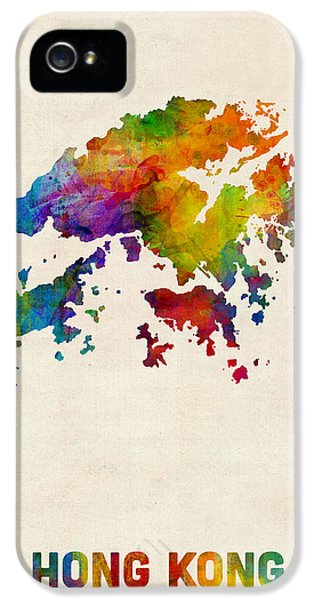 Hong Kong Watercolor Map IPhone 5s Case by Michael Tompsett