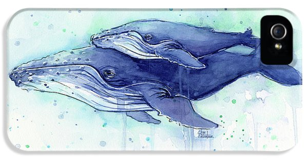 Humpback Whale Mom And Baby Watercolor IPhone 5s Case
