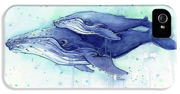 Humpback Whale Mom And Baby Watercolor IPhone 5s Case by Olga Shvartsur