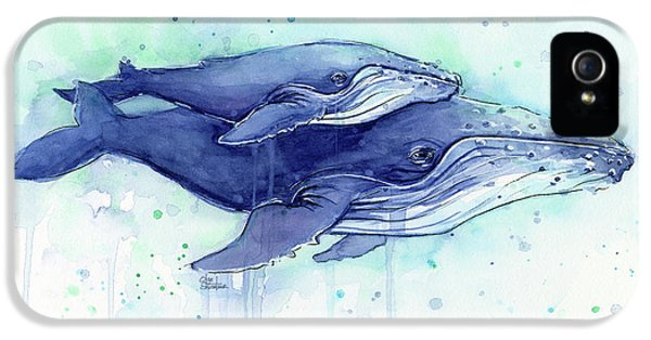 Humpback Whales Mom And Baby Watercolor Painting - Facing Right IPhone 5s Case by Olga Shvartsur