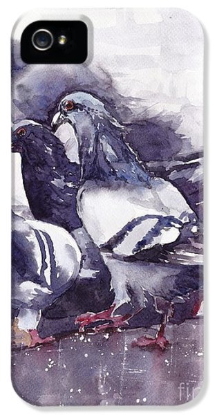 Pigeon iPhone 5s Case - Hungry Pigeons Watercolor by Suzann's Art