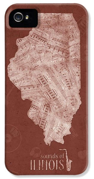 Illinois Map Music Notes 5 IPhone 5s Case