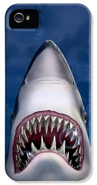 iPhone - Galaxy Case - Jaws Great White Shark Art IPhone 5s Case by Walt Curlee