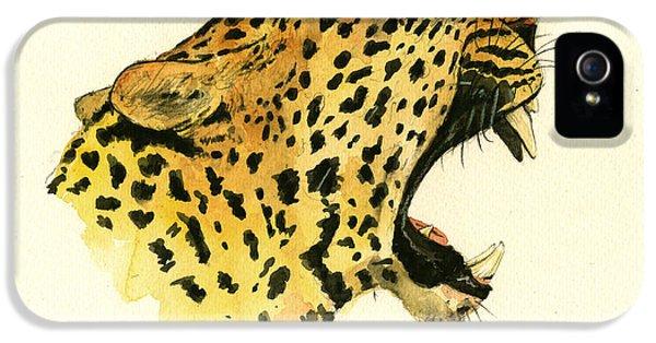 Leopard iPhone 5s Case - Jaguar Head Painting Watercolor by Juan  Bosco