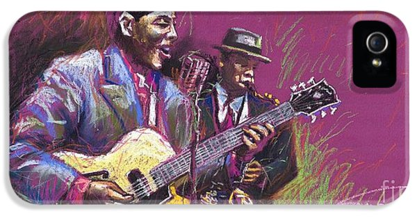 Jazz Guitarist Duet IPhone 5s Case by Yuriy  Shevchuk