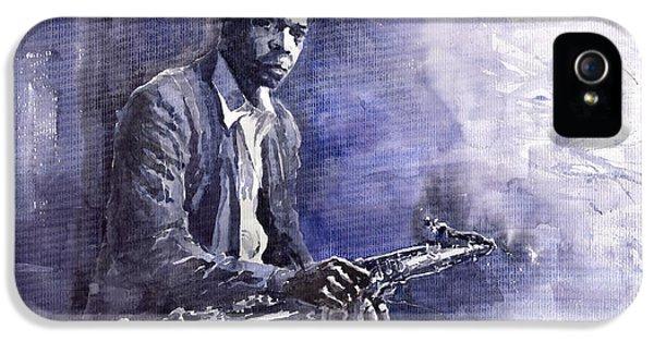 Figurative iPhone 5s Case - Jazz Saxophonist John Coltrane 03 by Yuriy Shevchuk