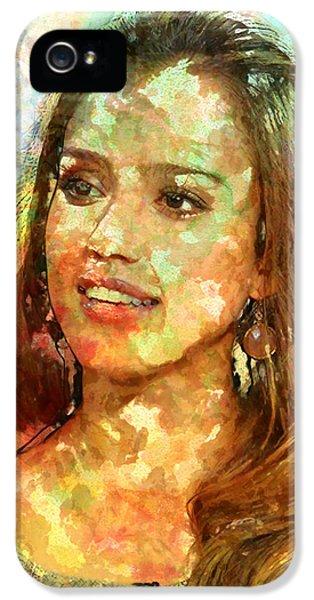 Jessica Alba iPhone 5s Case - Jessica Alba by Elena Kosvincheva