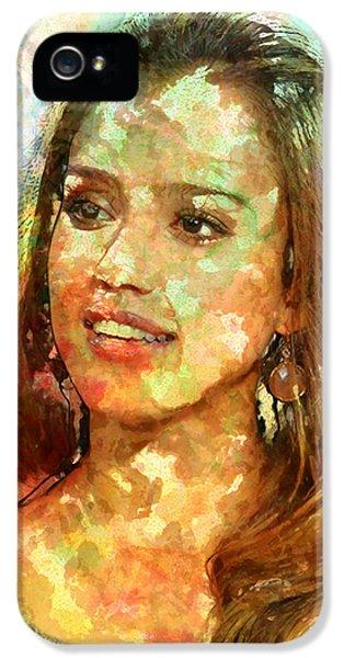 Jessica Alba IPhone 5s Case by Elena Kosvincheva