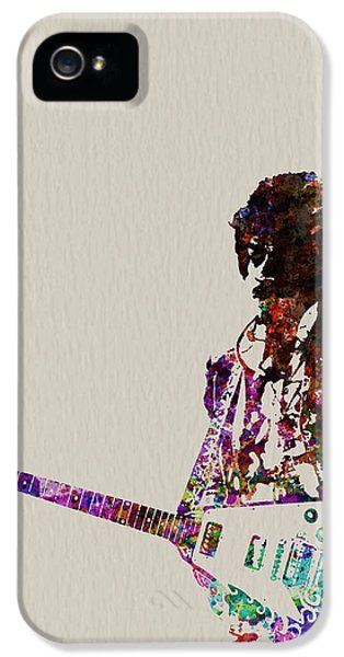 Rock And Roll iPhone 5s Case - Jimmy Hendrix With Guitar by Naxart Studio