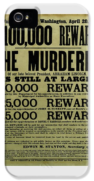 John Wilkes Booth Wanted Poster IPhone 5s Case by War Is Hell Store