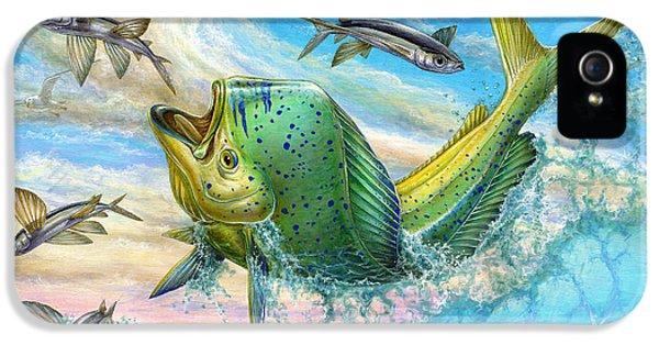 Dolphin iPhone 5s Case - Jumping Mahi Mahi And Flyingfish by Terry Fox