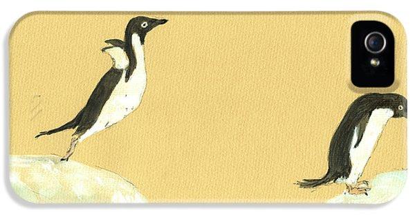 Penguin iPhone 5s Case - Jumping Penguins by Juan  Bosco