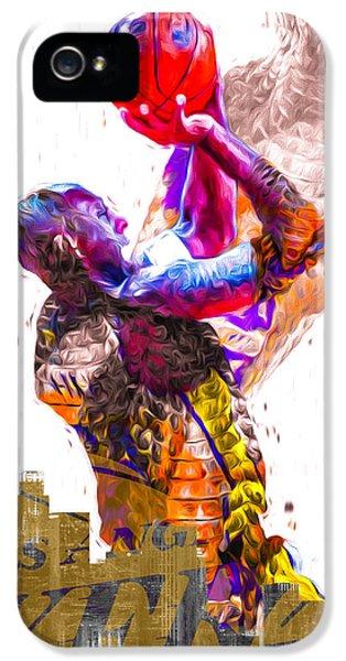 Kobe Bryant Los Angeles Lakers Digital Painting Snake 1 IPhone 5s Case by David Haskett