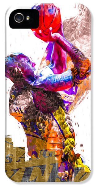 Kobe Bryant Los Angeles Lakers Digital Painting Snake 1 IPhone 5s Case by David Haskett