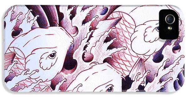 Koi iPhone 5s Case - Koi Carps In Water Tattoo Art by Samuel Whitton