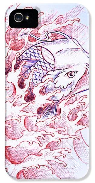 Koi iPhone 5s Case - Koi Tattoo Sketch by Samuel Whitton