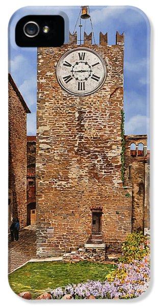Clock iPhone 5s Case - La Torre Del Carmine-montecatini Terme-tuscany by Guido Borelli