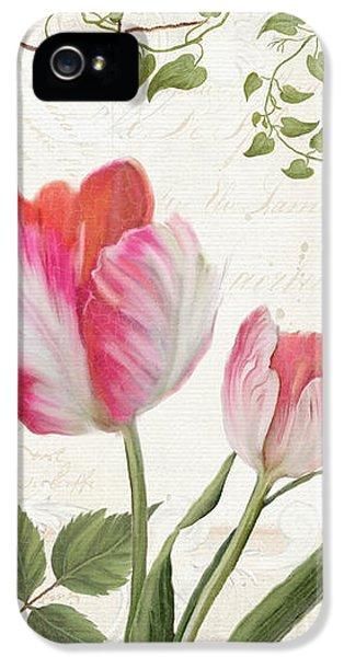 Les Magnifiques Fleurs I - Magnificent Garden Flowers Parrot Tulips N Indigo Bunting Songbird IPhone 5s Case by Audrey Jeanne Roberts