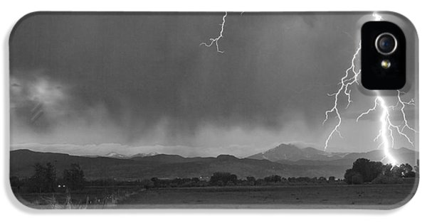 Lightning Striking Longs Peak Foothills 5bw IPhone 5s Case by James BO  Insogna