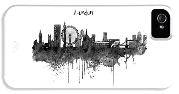 London Black And White Skyline Watercolor IPhone 5s Case by Marian Voicu