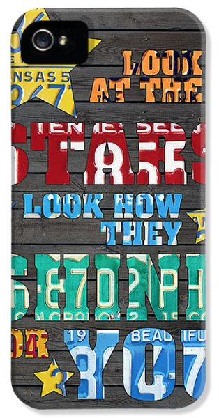 Look At The Stars Coldplay Yellow Inspired Typography Made Using Vintage Recycled License Plates IPhone 5s Case by Design Turnpike