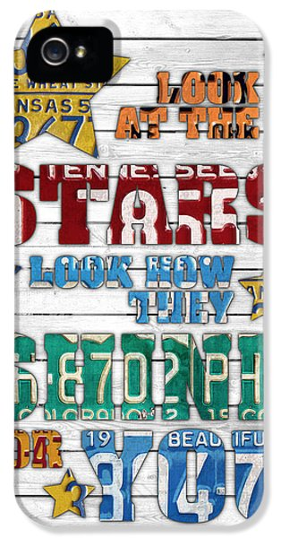 Look At The Stars Coldplay Yellow Inspired Typography Made Using Vintage Recycled License Plates V2 IPhone 5s Case by Design Turnpike
