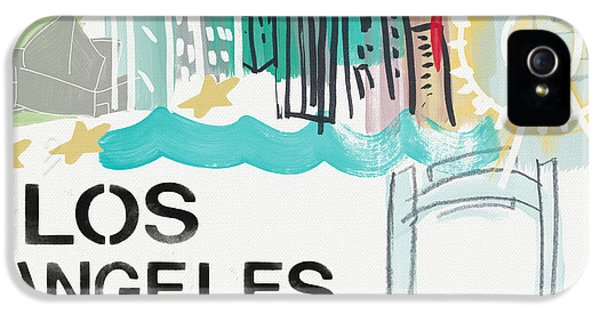 Santa Monica iPhone 5s Case - Los Angeles Cityscape- Art By Linda Woods by Linda Woods